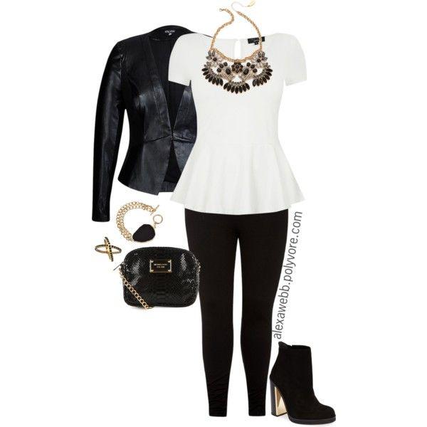 "#plus #size #fashion ""Plus Size - Black & White Peplum"" by alexawebb on Polyvore @alexandrawebb"