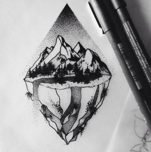 drawing Illustration landscape mountains forest rocks stippling tattoo art Dotwork tattoodesign the magic society