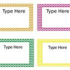 Editable Chevron Labels Size about 3x5  Use these chevron labels for manipulatives, labeling books, name tags, whatever you fancy! ...