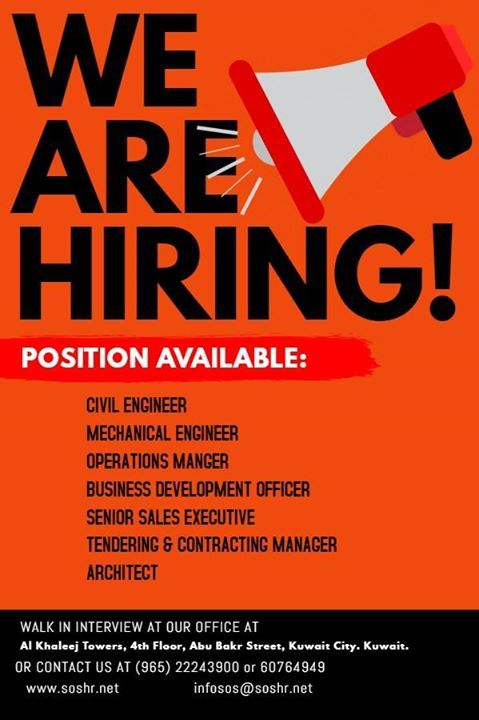 Our Clients are urgently hiring these vacancies locally in Kuwait