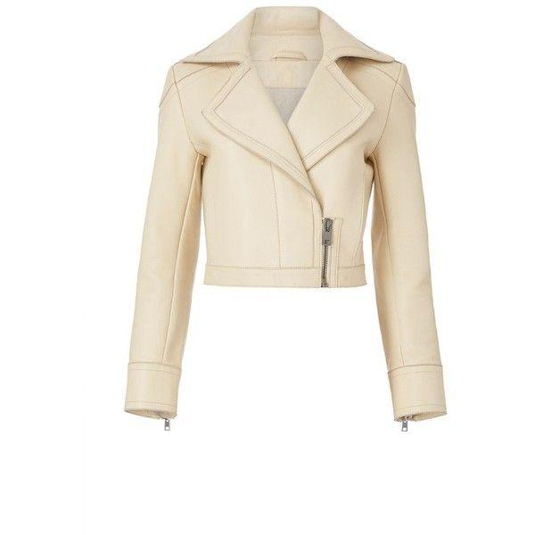 Diane von Furstenberg Valeria Leather Aviator Jacket ($898) ❤ liked on Polyvore featuring outerwear, jackets, leather jacket, leather, tan, white jacket, tan leather jacket, genuine leather jackets, heavy leather jacket and real leather jackets