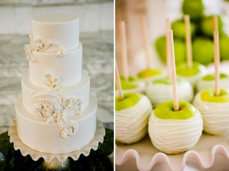 White on white cake.  Green apples dipped in white chocolate.