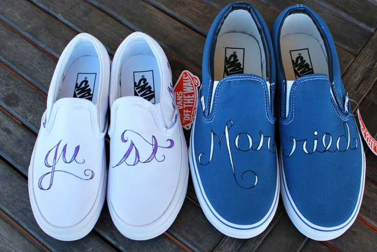 "This pair of custom wedding Vans says ""Just Married"" in elegant cursive font across the tops of the shoes. The back of the ladies true white Vans say His-----><-------hers is on the back of his Navy V"