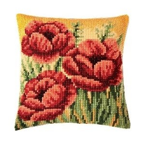 Poppy Field Chunky Cross Stitch Cushion Front Kit: Amazon.co.uk: Kitchen & Home £21.99