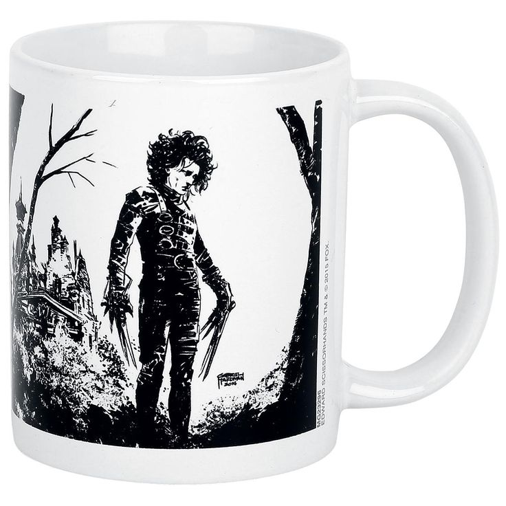 """Mug with Edward Scissorhands  - ceramic - 0.3 l - suitable for dishwasher & microwave  Edward Scissorhands is just a great movie that you can watch again and again, it's great every time you watch it. On the black/white """"Edward"""" mug you can see a print of Edward Scissorhands himself. Your coffee will taste much better from this mug!"""