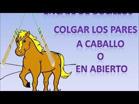 Encaje de bolillos: Como colgar los pares a caballo o en abierto - YouTube