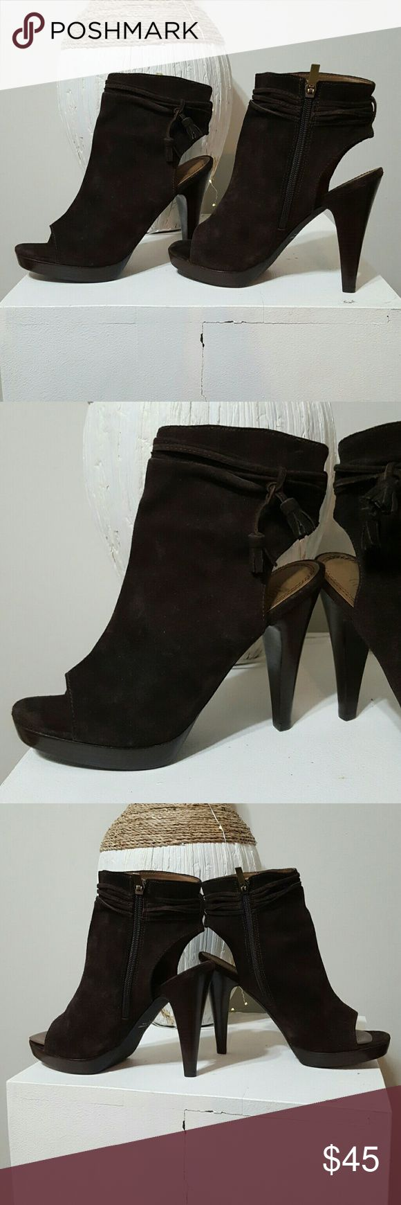 """COLIN STUART BROWN SUEDE OPEN TOE BOOTIES. COLIN STUART BROWN SUEDE OPEN TOE BOOTIES. Gorgeous shoe. Brown suede. Brown suede tassel top detail. Side zipper entry. 4"""" heel.  Perfect condition. Barely worn!! Colin Stuart Shoes Ankle Boots & Booties"""