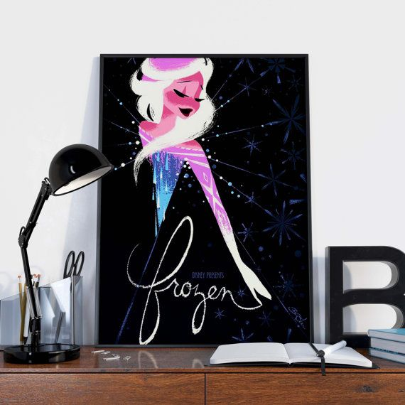 Disney's Frozen Inspired Poster, Elsa print, Disney print, Frozen poster, Disney poster, Disney Princess Elsa poster, Kids Decor