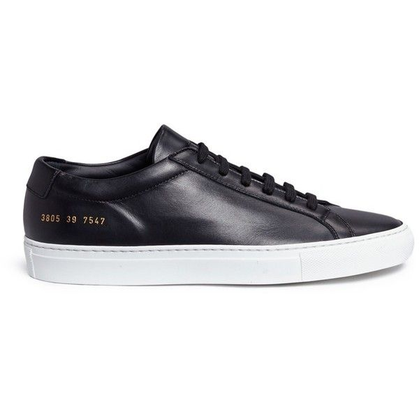 Common Projects 'Original Achilles' leather sneakers ($415) ❤ liked on Polyvore featuring shoes, sneakers, color block shoes, leather low top sneakers, metallic sneakers, low profile sneakers and leather low tops