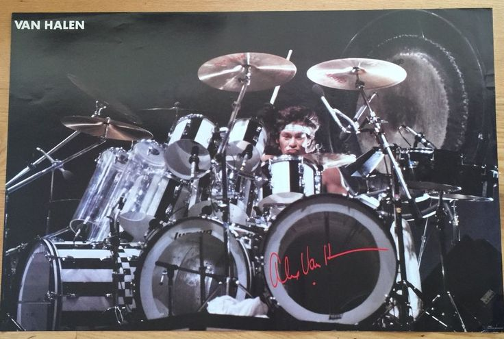 Alex Van Halen 1983 Original Promo Drumming On Stage Poster 23 X 35