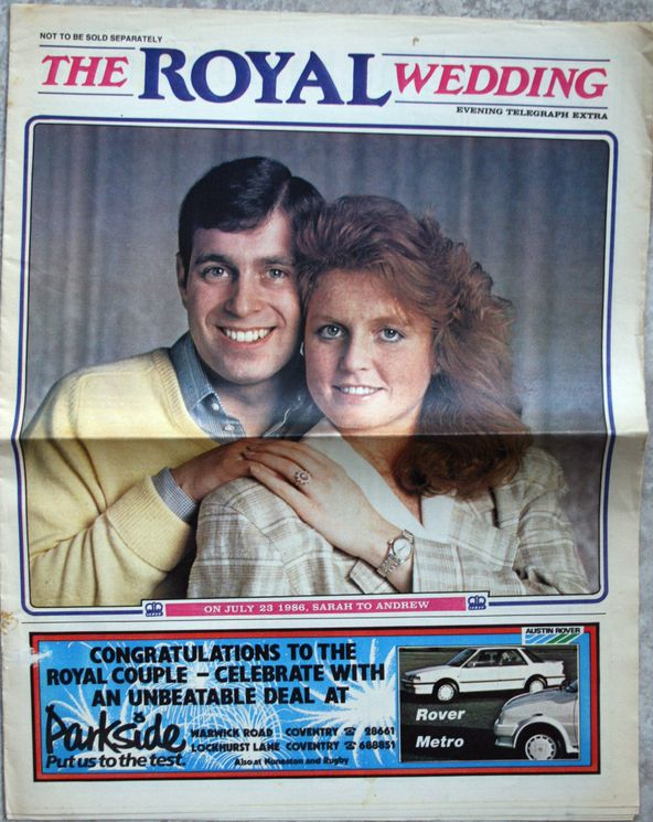 """1986 Coventry Evening Telegraph Extra """"The Royal Wedding"""" Fergie & Andrew"""