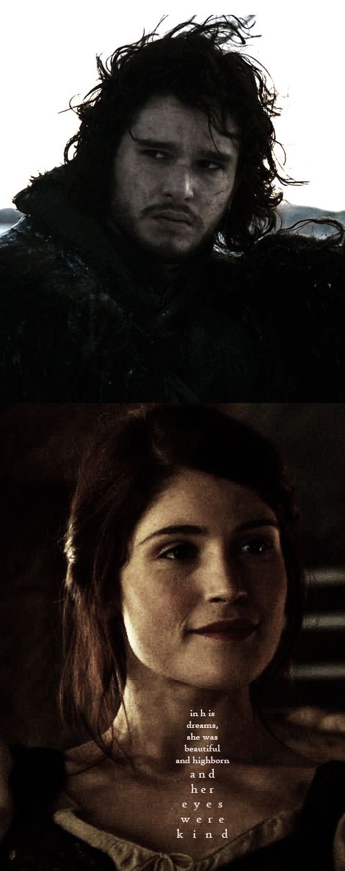 Jon Snow + Lyanna Stark: in his dreams, she was beautiful and highborn and her eyes were kind. #got #asoiaf