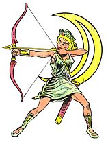 Diana, or Luna, Roman goddess of the Moon, animals, and hunting.