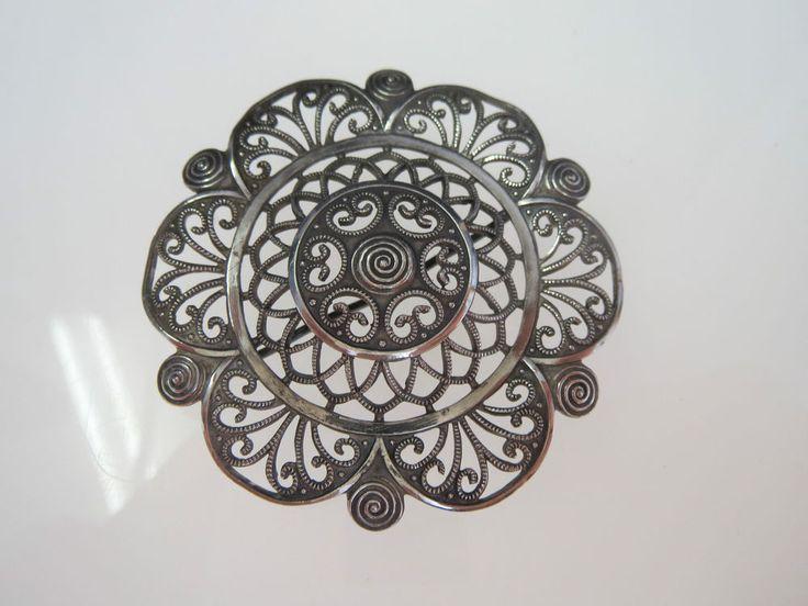 WMF Ikora filigrane Silber Brosche - Florale Verzierungen- 835er Silber