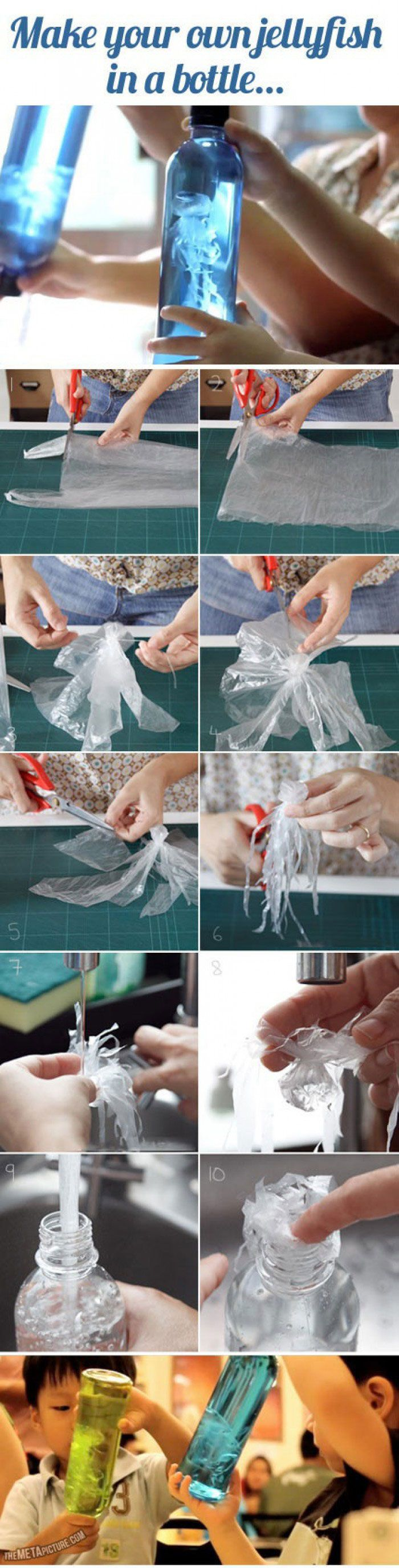 Put your old plastic bags to use with this amazing jellyfish craft for kids.    Here's a video of kids enjoying their homemade plastic jellyfish.    [wp_ad_camp_2]