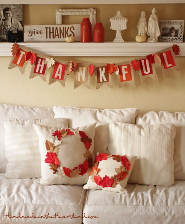 DIY Thanksgiving Banner, Pillows & Sign. Instructions and more photos on handmadeintheheartland.com