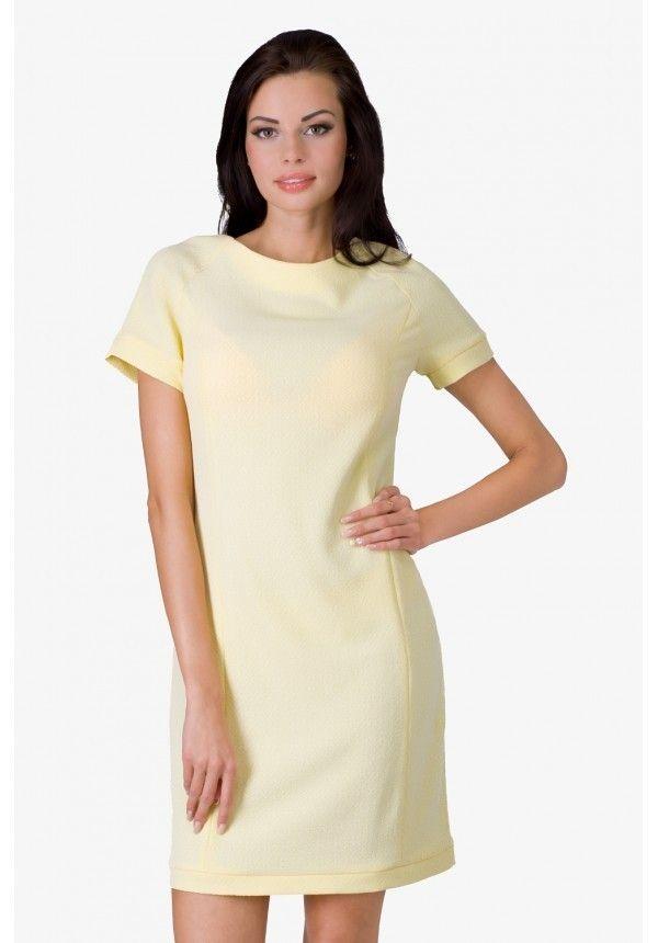 Sukienka Yellow Sukienka klasyczna w kolorze żółtym z krótkim rękawem. Sukienka zapinana na guziczek. #modadamska #sukienkiletnie #sukienka #suknia #sklepinternetowy #allettante