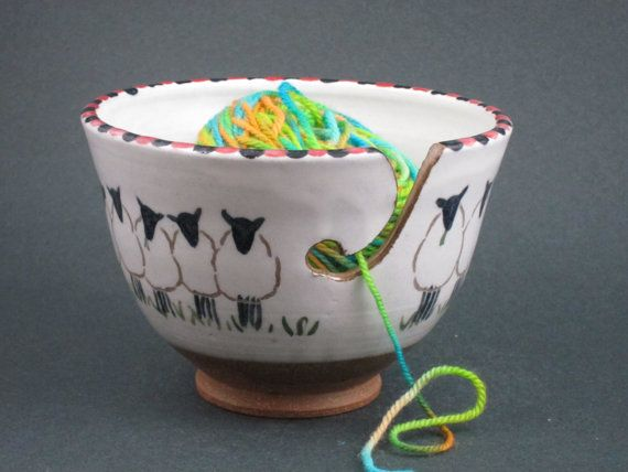 Ceramic Sheep Yarn Bowl by ClothnClay on Etsy, $45.00 This is adorable!