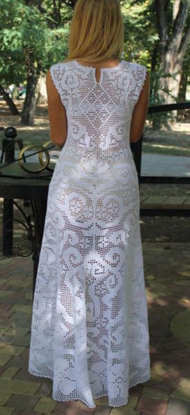 Filet crochet long white dress