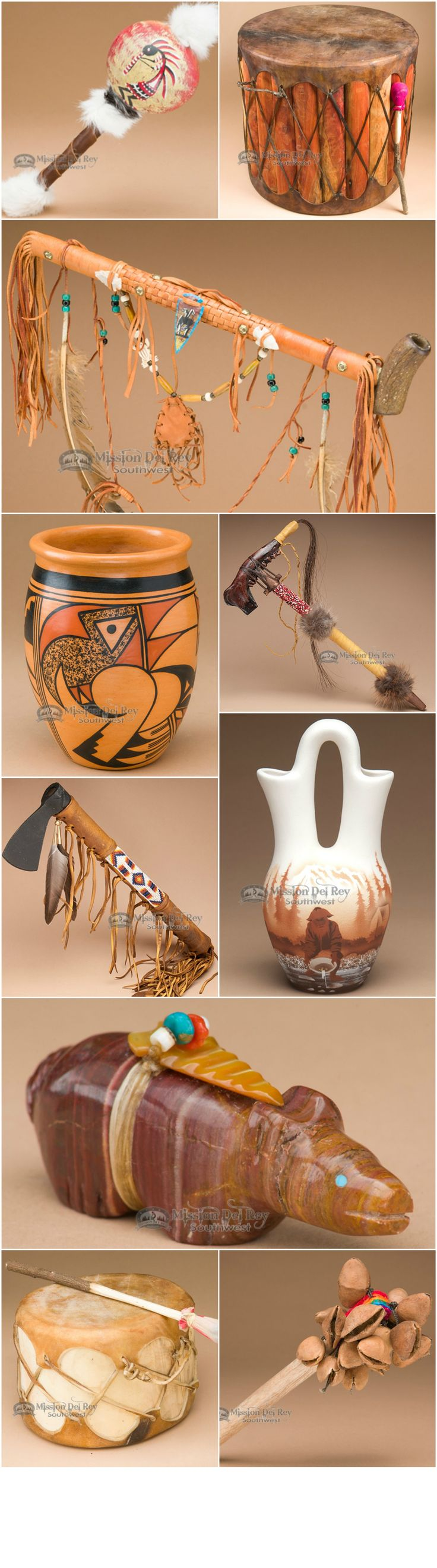 Native American pottery, drums, rattles, peace pipes, tomahawks and more for southwest decorating.
