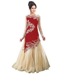 Buy Red net embroidered semi stitched party-wear-gowns party-wear-gown online