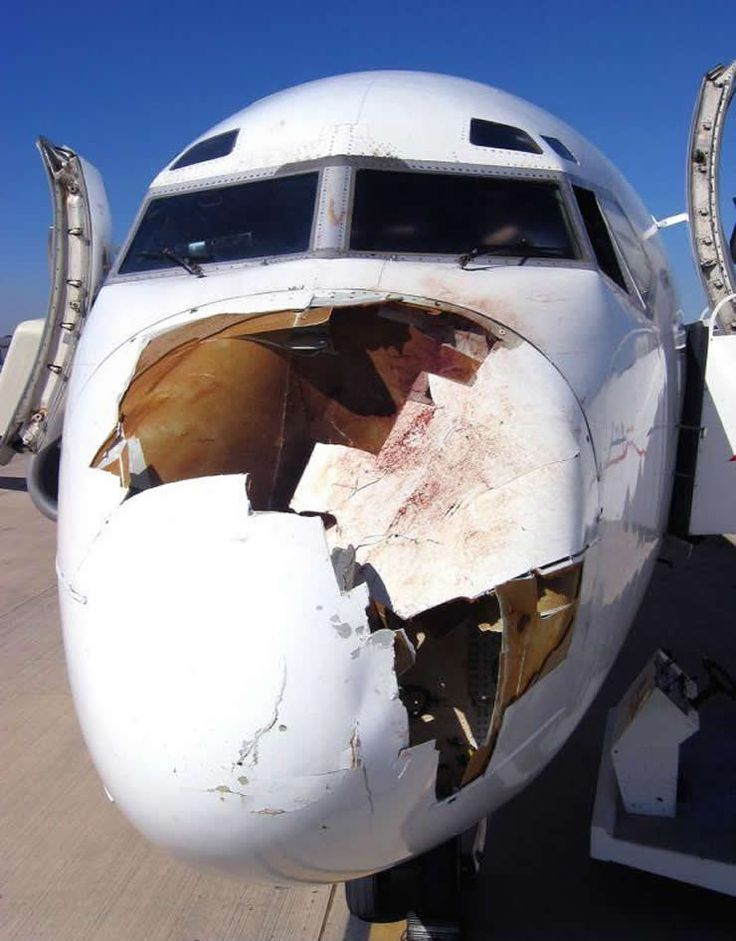 dc-9 airliner nose strike-- HOPEFULLY THATS A BIRD STRIKE AND NOT A..........HEY SUPERMAN HAS BEEN MISSING...HMMMMM