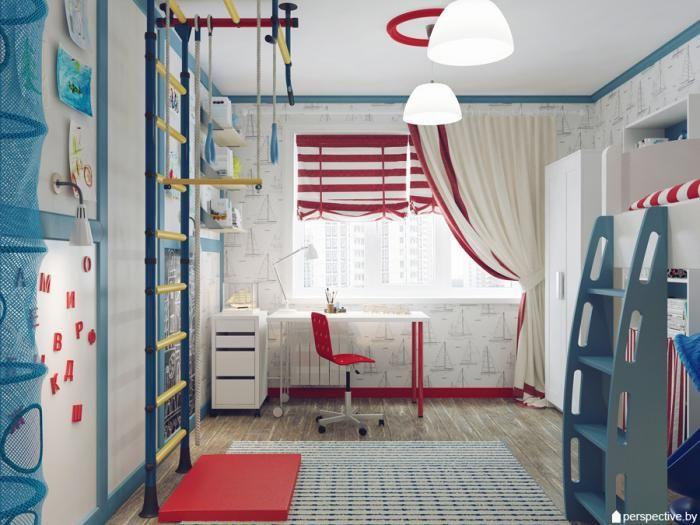 Дизайн-проект детской комнаты, спортивный уголок в детской