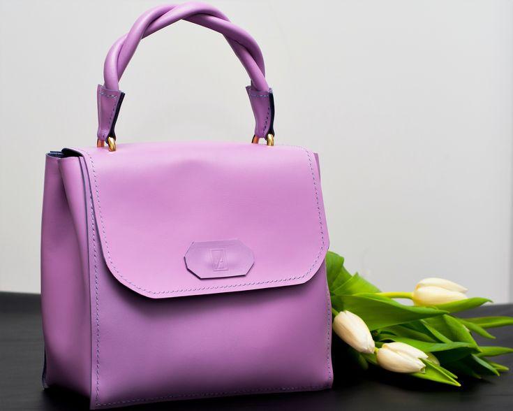 Precious handmade purple leather bag