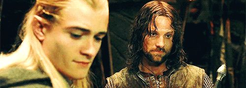 "Pinning because that very last GIF made me laugh. Out loud.  --  The glances. | The Only Love Story That Mattered In ""The Lord Of The Rings"" Was That Of Legolas And Aragorn"
