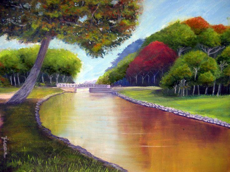 Óleo 33 x 25 de Javier Úcar - Reflejo en el canal