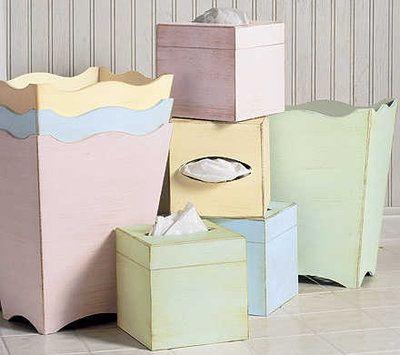 pastel colored bath accessories   Riviera Pastel Wastebasket & Boutique Tissue by Labrazel