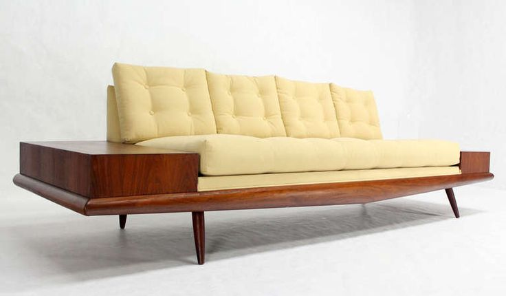Adrian Pearsall Mid Century Modern Walnut Sofa End Tables New Upholstery Sold for $7,500