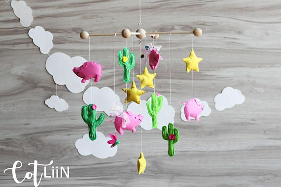Baby mobile cacti nursery pig baby mobile Cactus baby mobile