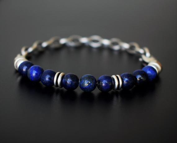 Lapis lazuli bracelet Men Engraved bracelet Blue gemstone beaded yoga Mala Husband Valentine gift Brother gift Boyfriend bracelet Uncle gift