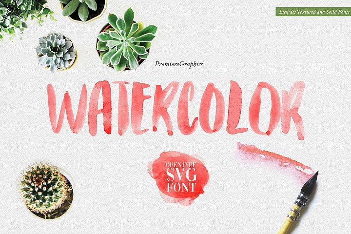 Watercolor Opentype Svg Font Watercolor Font Watercolor Effects