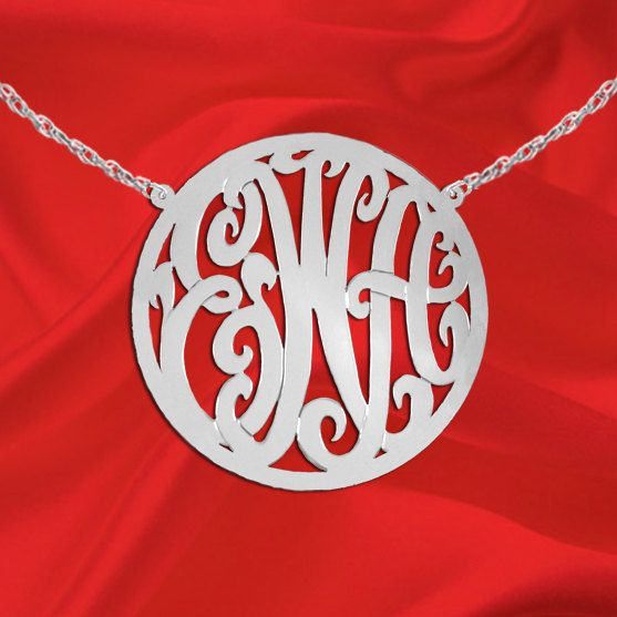 Monogram Necklace 1 1/2 inch Sterling by SilverJewelryArcade, $74.99