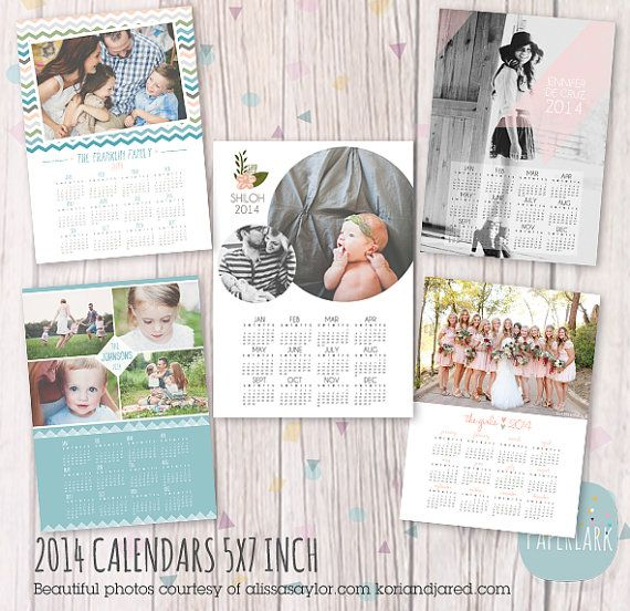 2014 Photography Calendar Bundle - Photoshop template - AP006 - INSTANT DOWNLOAD