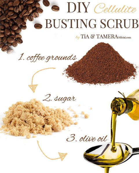 How to get rid of cellulite - a DIY cellulite busting scrub ..1/2 café grinds, 1/4 sugar/ 1/4 olive oil. rub into affected area daily for 5 minutes and rinse