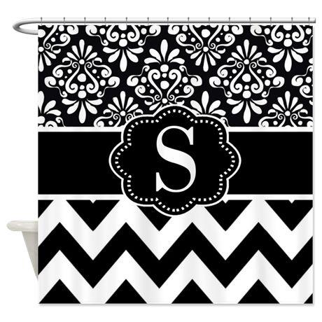 Black White Damask Chevron Monogram Shower Curtain on CafePress.com