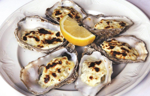 Oysters with laverbread and Stilton by Bryan Webb