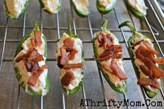 Stuffed Jalapenos With Crispy Bacon, quick and easy recipe, party Recipes, Superbowl Recipes. Can't wait to try this recipe. TIP put them on...