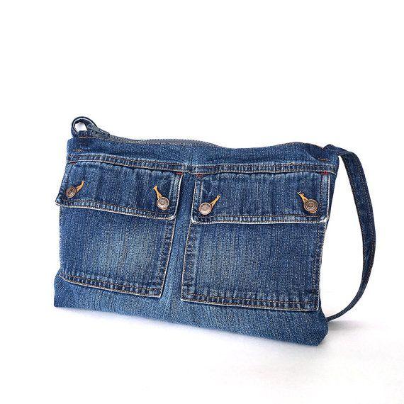 Bandolera reciclada bolso lateral del pequeño jean por Sisoibags