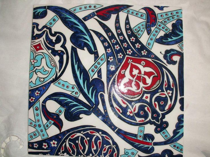 20x20 cm ceramic tile.handmade by Meral