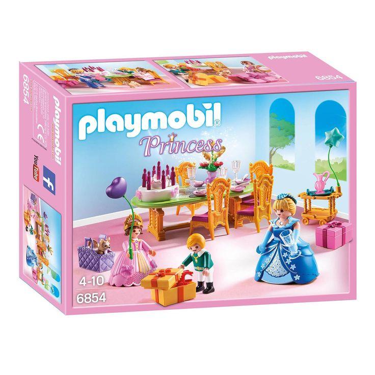 Playmobil 6854. De prinses geeft een feest! Er staat een heerlijke verjaardagstaart klaar op tafel. De gasten brengen leuke cadeau's mee voor de jarige. Iemand heeft zelfs een hondje meegebracht! Gelukkige verjaardag!