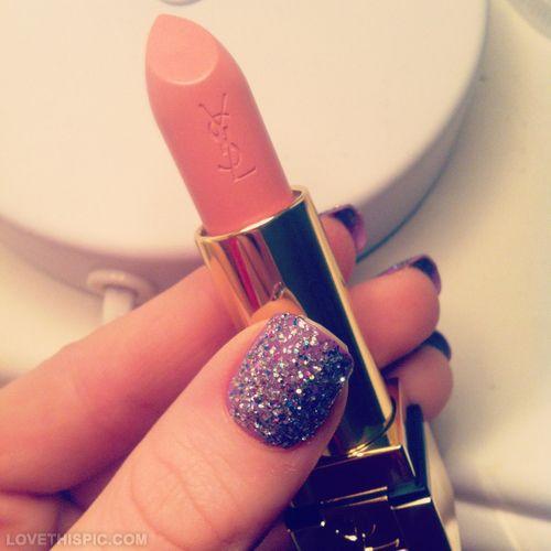 YSL lipstick nails glitter nail art manicure ysl yves saint laurent coral lipstick