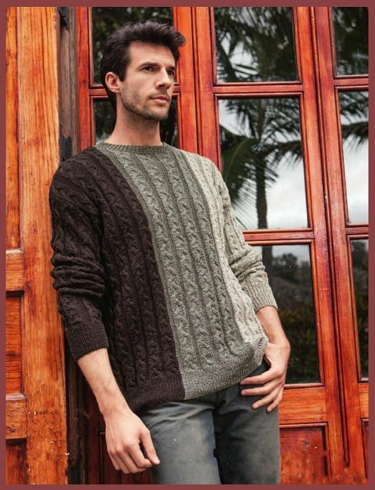Озорные петельки: Трёхцветный мужской пуловер