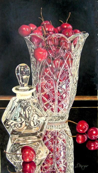 Cherries Jubilee Drawing.  Susan Moyer.   Colored Pencil  Love the clarity of the glass