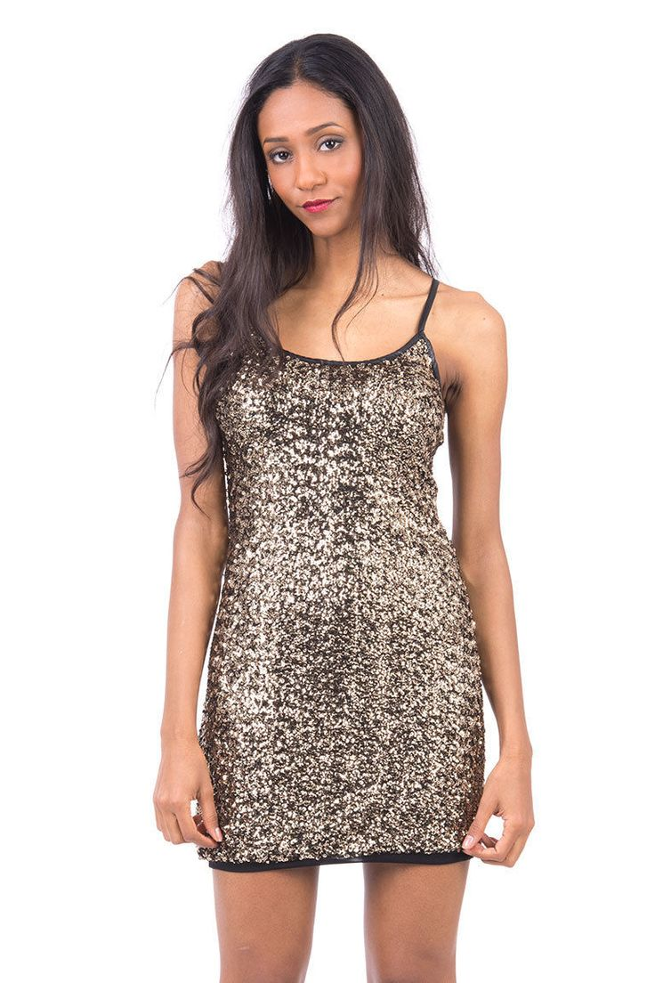 Sequin Strappy Bodycon Dress. Look fabulous and turn heads in our glamorous sequin dress! Sparkly and elegant, this dress will make you stand out from the crowd at any evening event! Key features include elasticated material, body hugging design and leather look adjustable straps. A fantastic dress just for £17.99!   Material: 100% Polyester   Approximate measurements for Size S/M:  Chest: 32cm, stretched 38cm  Total length (Underarm to hem): 60cm  £17.99