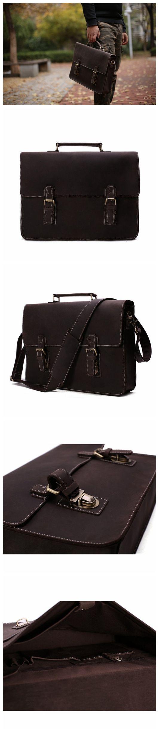 Vintage Crazy Horse Leather Briefcase Messenger Bag Laptop Bag 7035W