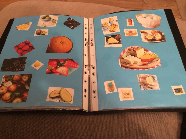 Amelia's recipe book. We ripped up magazines together. I Then I cut them into smaller images. Used round clear stickers to attach to paper as it was easy for her little fingers to manipulate.  Grouped the item on different pages.  She uses the book in role playing.